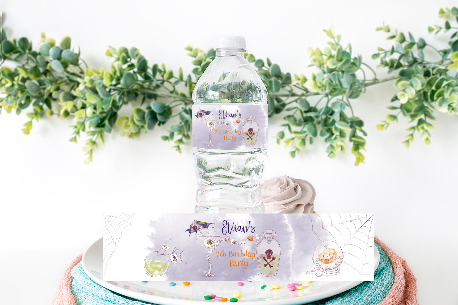 Editable Halloween Birthday Party Water Label | Halloween Party Theme- 115A