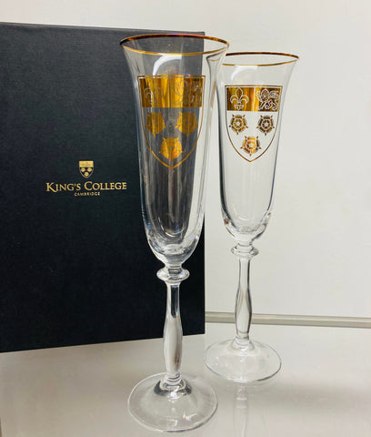King's College Crest Flute Glasses - Pair