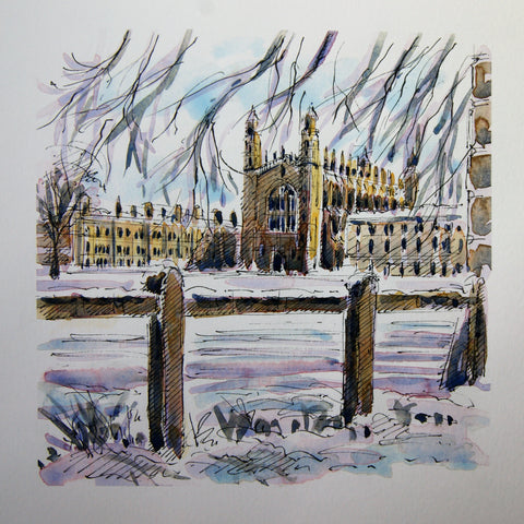 ''King's in the snow'' Greeting card by Richard Briggs