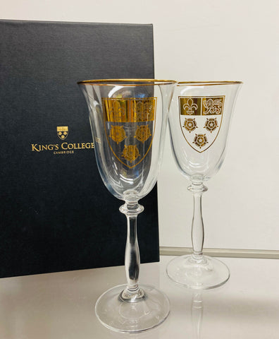 King's College Crest Wine Glass Pair