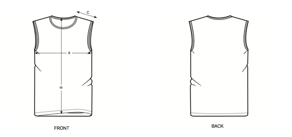 size-chart sleeveless shirts