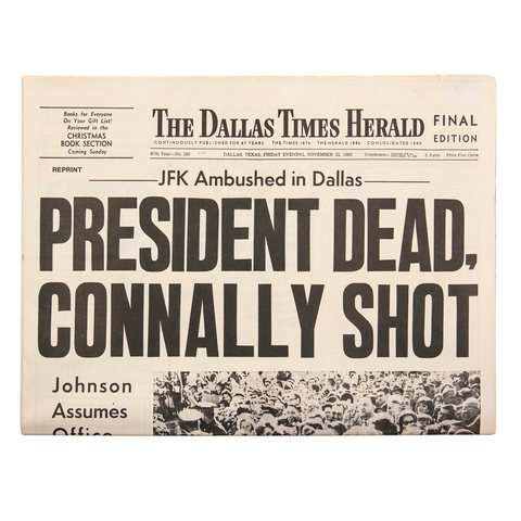 The Dallas Times Herald, 11.22.63, newspaper reprint