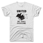 """United We Shall Overcome"" T-shirt with JFK Quote in Heather White"