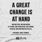 United We Shall Overcome with JFK quote T-Shirt in Adult sizes