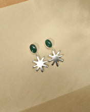 Load image into Gallery viewer, Melanie Earrings | Recycled Silver Sunbeam and Malachite