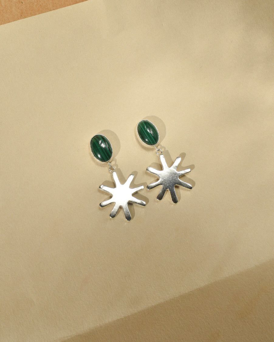 Melanie Earrings | Recycled Silver Sunbeam and Malachite