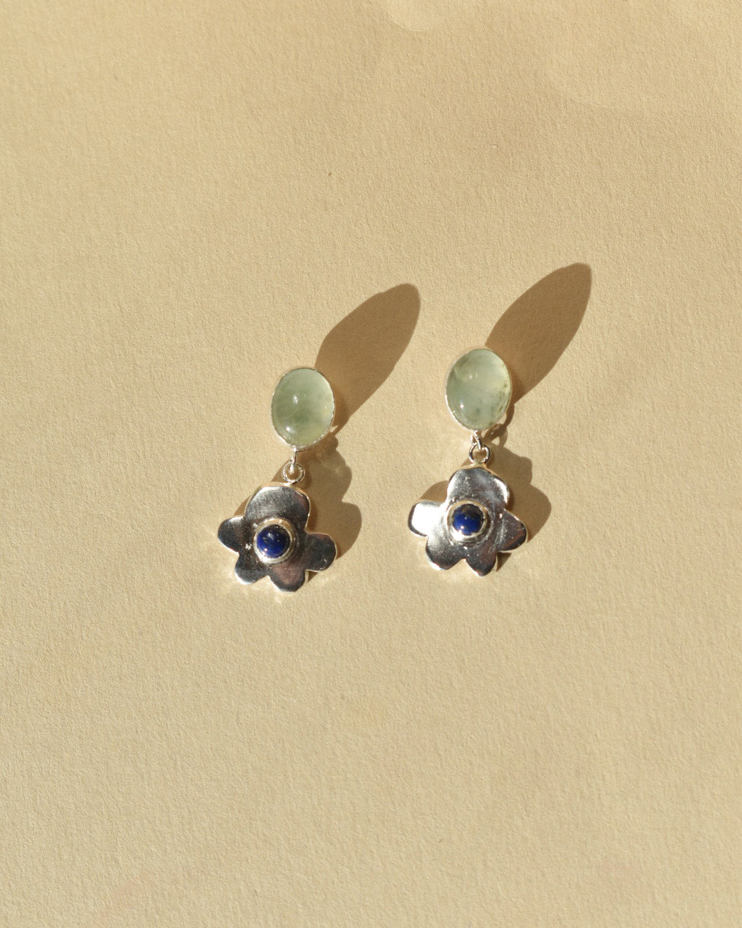 Fancy Pansy Earrings | Recycled Silver Pansy with Lapis Lazuli and Prehnite