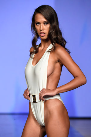 Sandra Luxury Open Side Halter White Swimsuit with Belt | Vanity Couture Runway Miami Swim Week