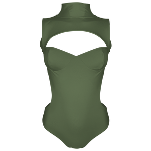 Alexa Luxury High Neck Cut Out Backless Olive Green Swimsuit | Vanity Couture