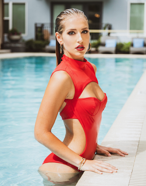 Alexa Luxury High Neck Cut Out Backless Red Swimsuit | Vanity Couture