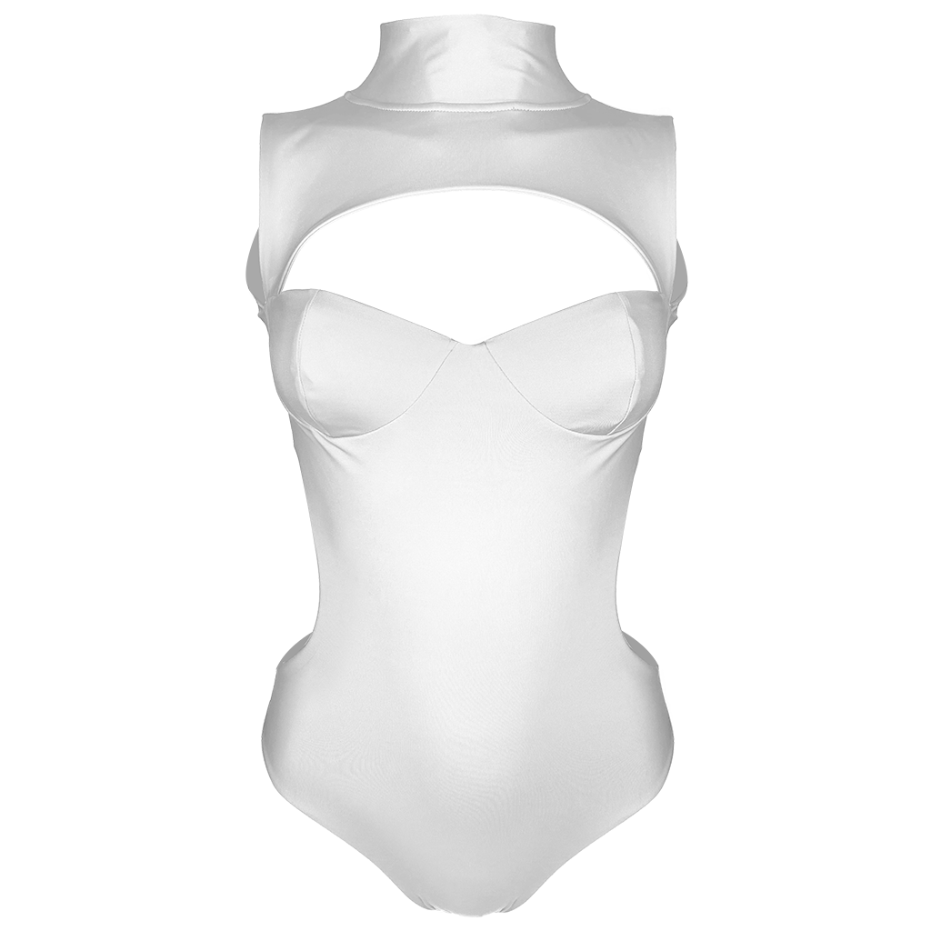 Alexa Luxury High Neck Cut Out Backless White Swimsuit | Vanity Couture