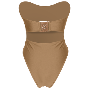 Carmen Luxury Strapless Belted Nude Swimsuit with Buckle | Vanity Couture