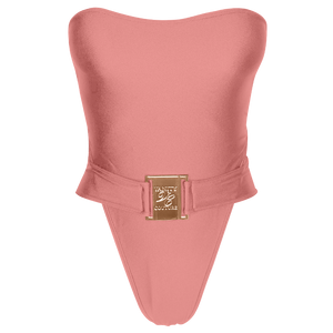 Carmen Luxury Strapless Belted Pink Swimsuit with Buckle | Vanity Couture