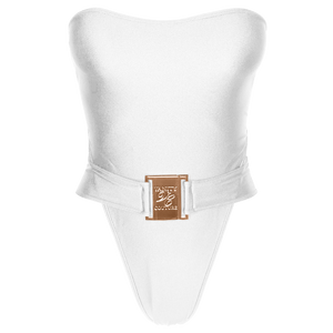 Carmen Luxury Strapless Belted White Swimsuit with Buckle | Vanity Couture