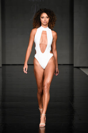 Natalya High Neck, Deep Plunge Cut Out White Swimsuit | Vanity Couture Runway Miami Swim Week