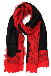 Wool Lace Wrap  Red Black