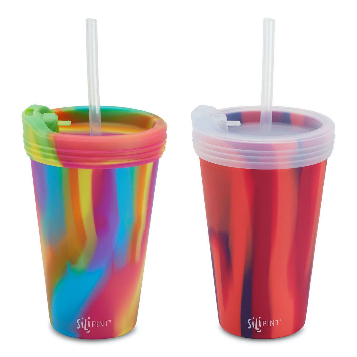 2 Pack - 16oz Pint Glass Bundle + Lids & Straws - Assorted