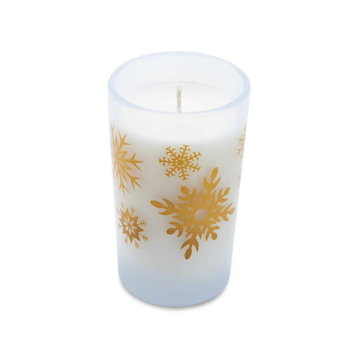 5.5oz Holiday Candle - Frosted White (Gold Snowflakes)