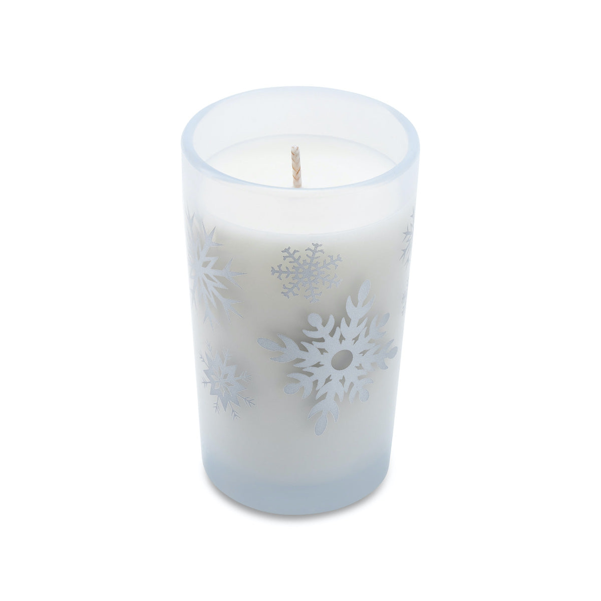 5.5oz Holiday Candle - Frosted White (Silver Snowflakes)