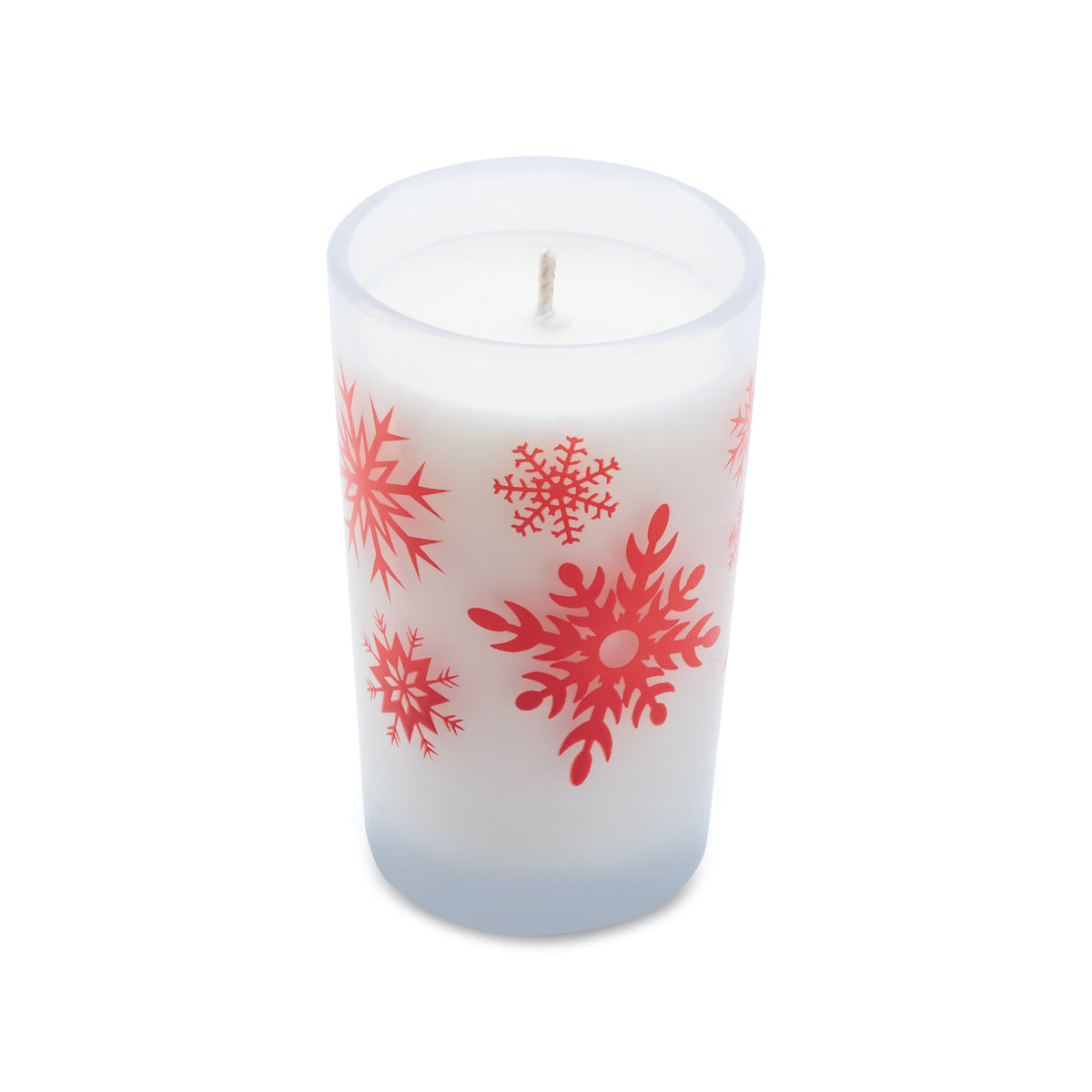 5.5oz Holiday Candle - Frosted White (Red Snowflakes)