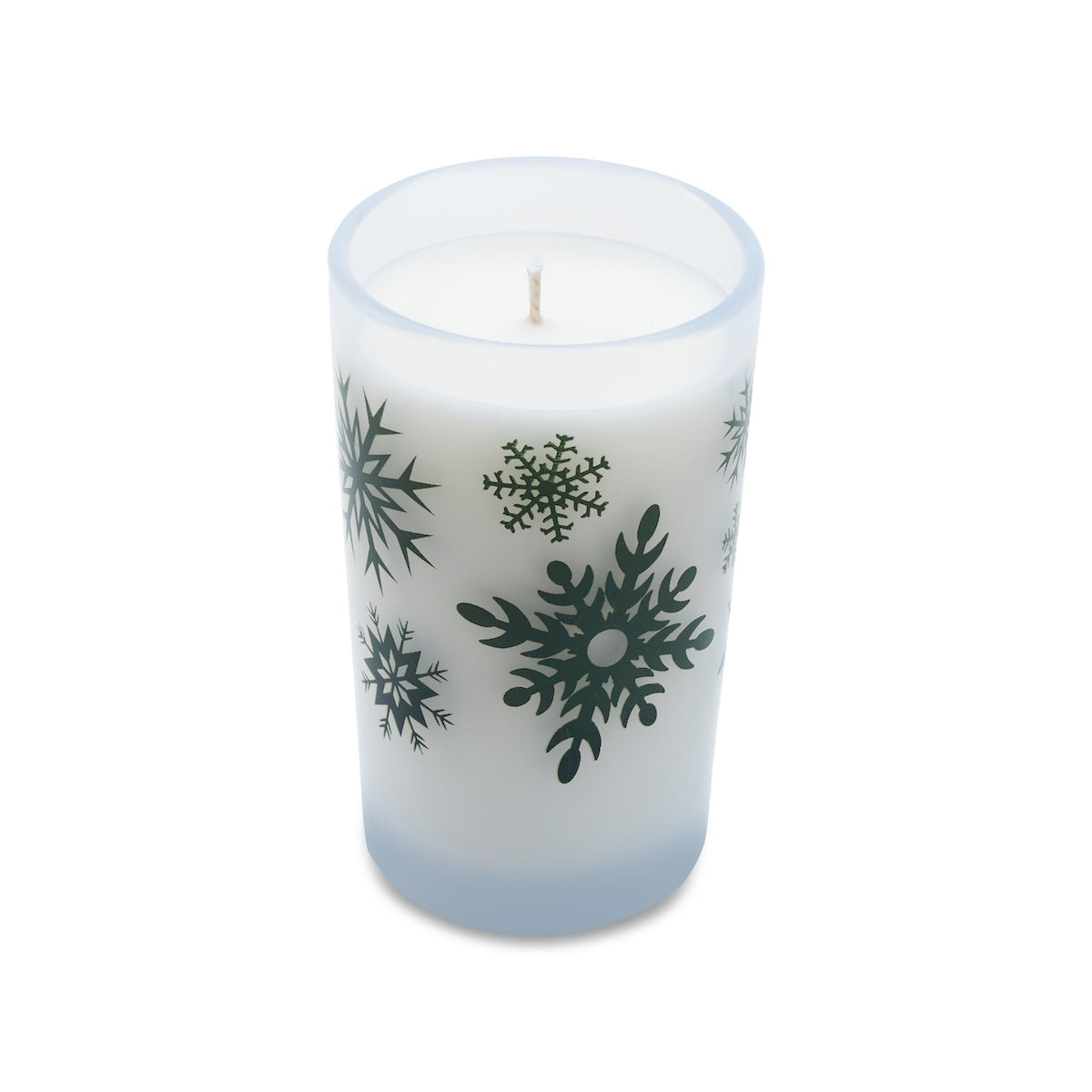 5.5oz Holiday Candle - Frosted White (Green Snowflakes)