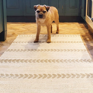 white and beige natural reversible rug