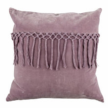 Load image into Gallery viewer, lilac purple tassel cushion with duck filled cushion