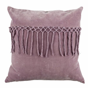 lilac purple tassel cushion with duck filled cushion