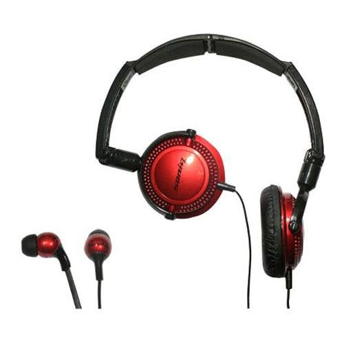 Soniq KABOOM! Headphone/Earphone Combo Pack, 18 Hz to 22 kHz Frequency Response, Red