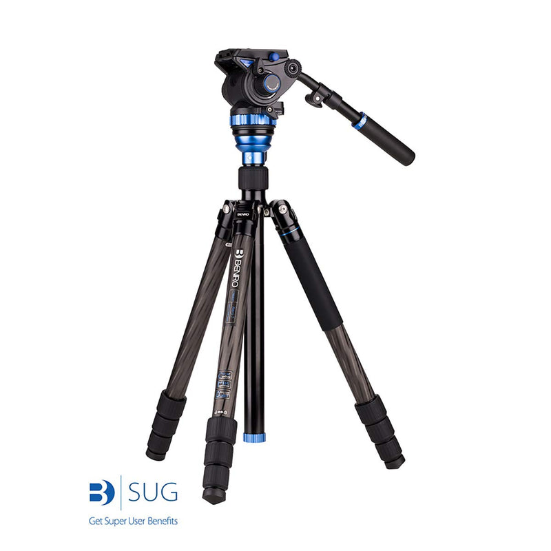 Benro Aero 7 Carbon Fiber Travel Video Tripod Kit with S7 Video Head (C3883TS7)