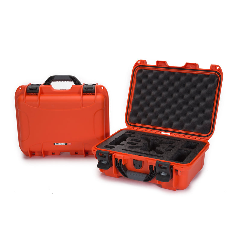 Nanuk 915 Waterproof Hard Drone Case with Custom Foam Insert for DJI Spark Flymore - Orange