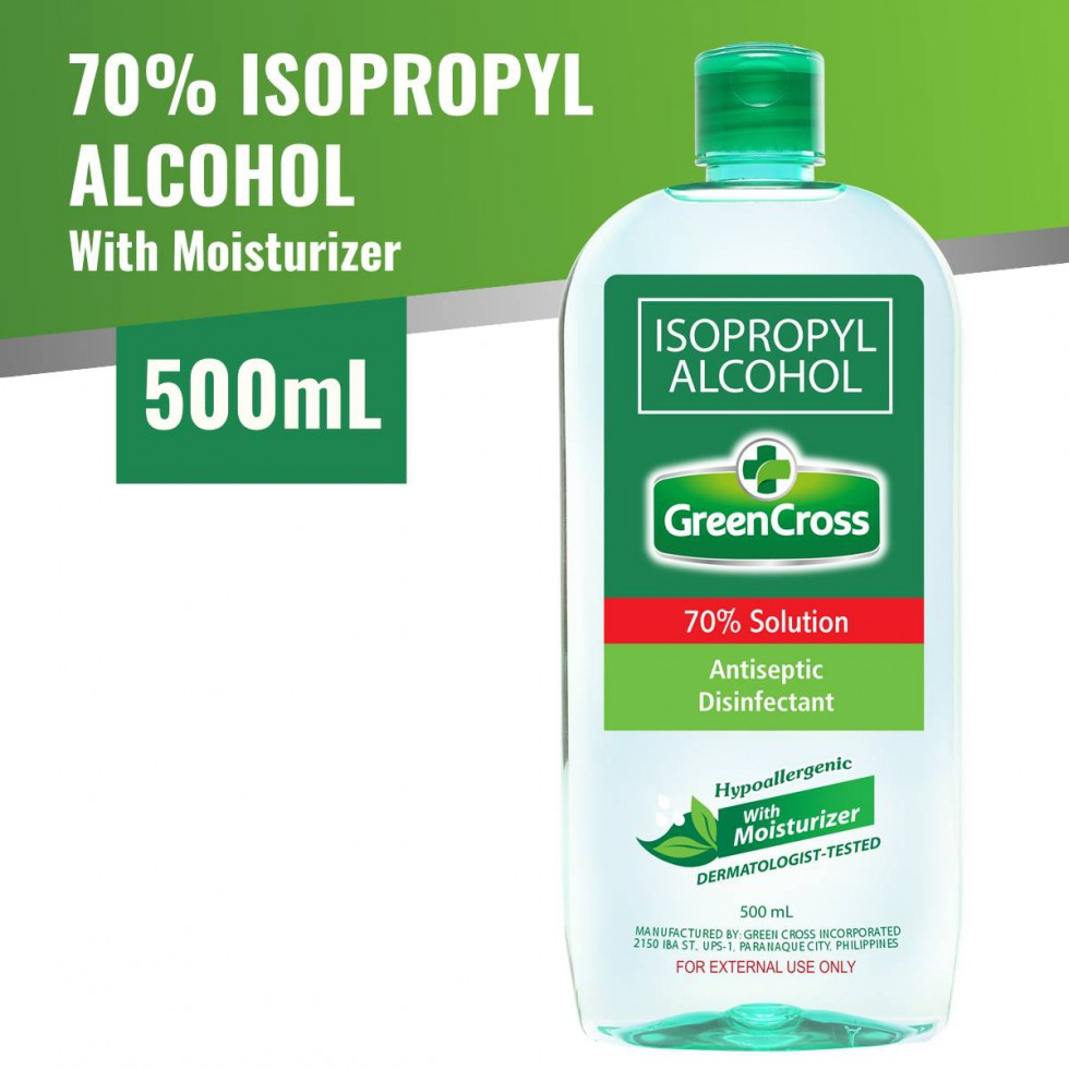 Green Cross Alcohol 70% With Moisturizer Isopropyl 500 ML