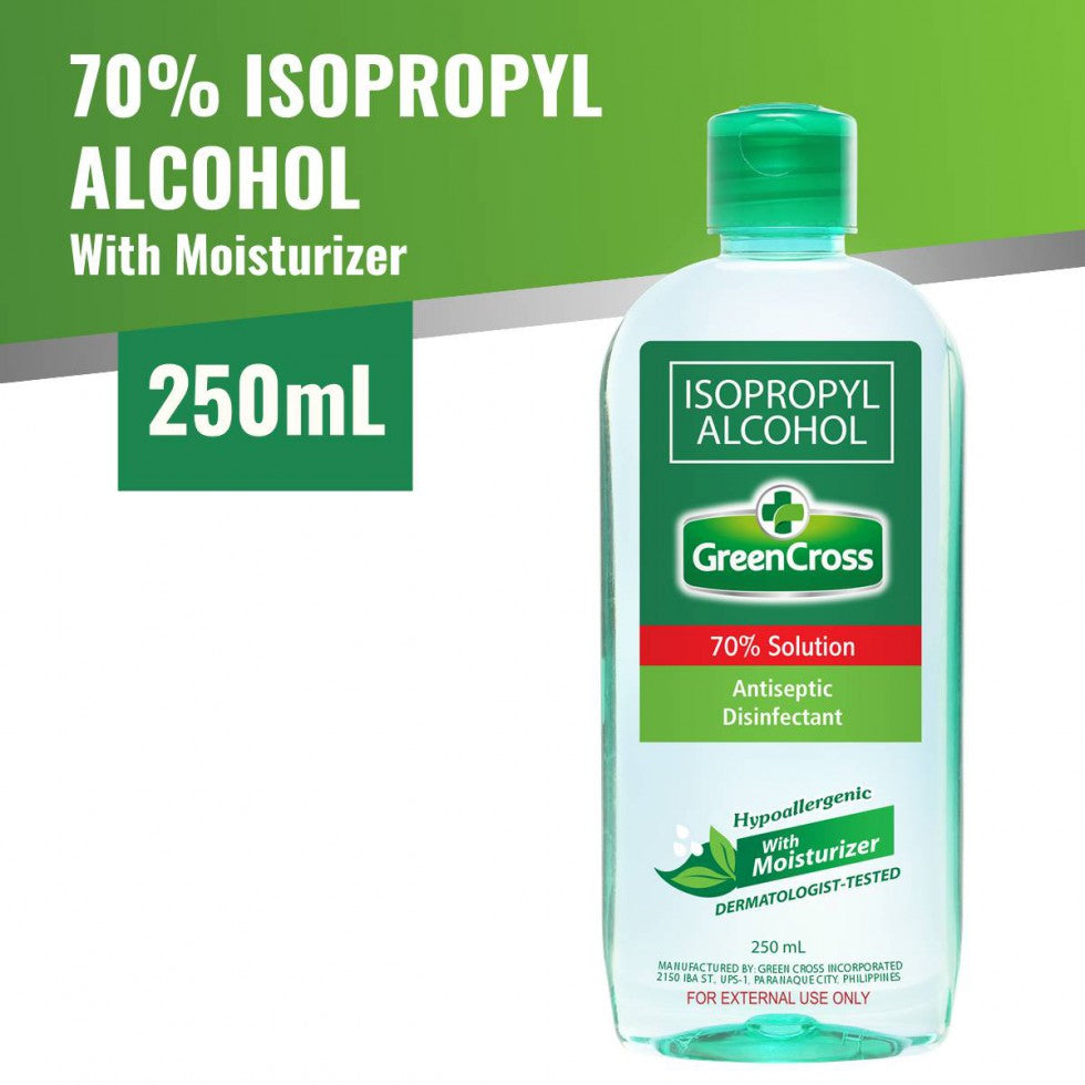 Green Cross Alcohol 70% With Moisturizer Isopropyl 250 ML