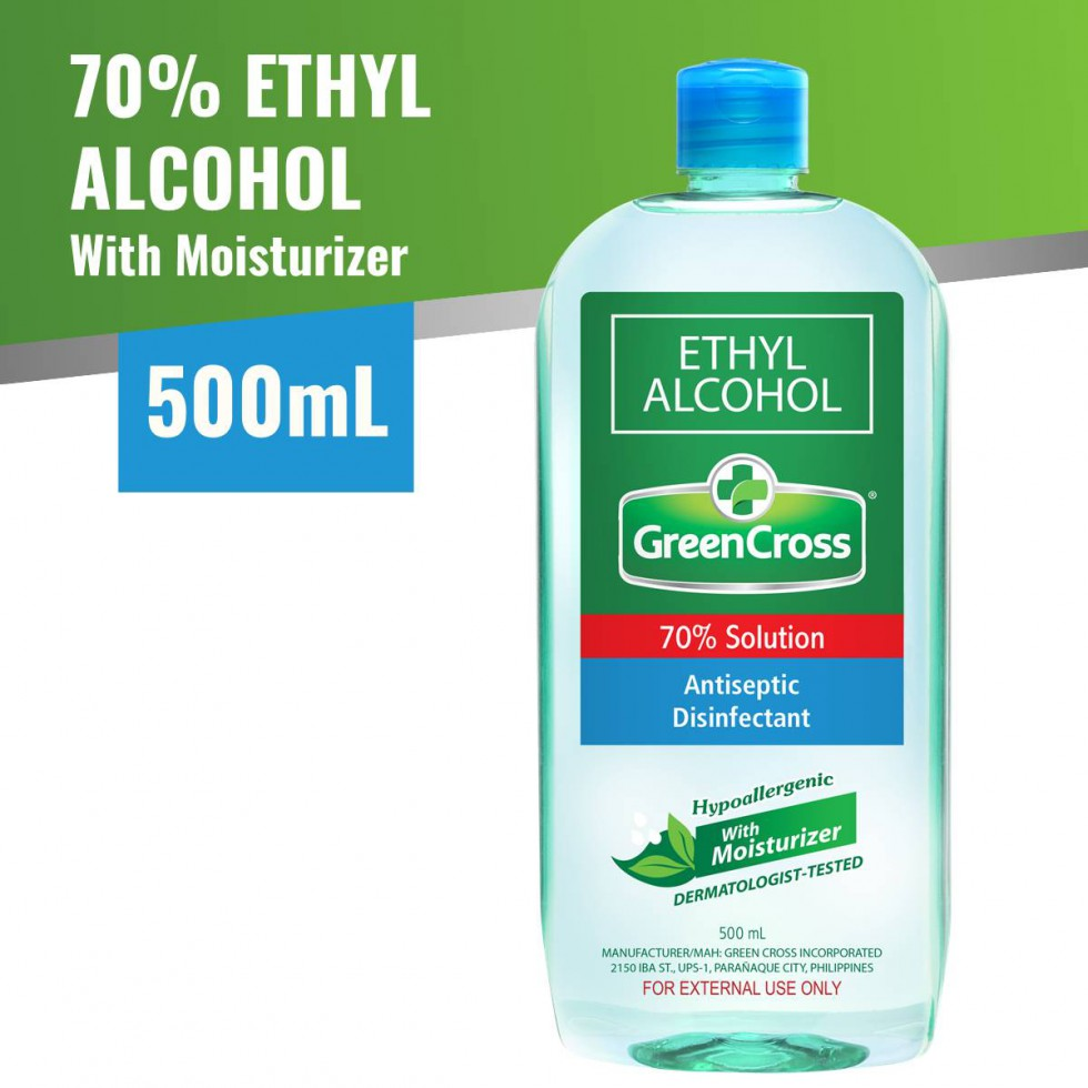 Green Cross Alcohol 70% Ethyl with Moisturizer 500mL