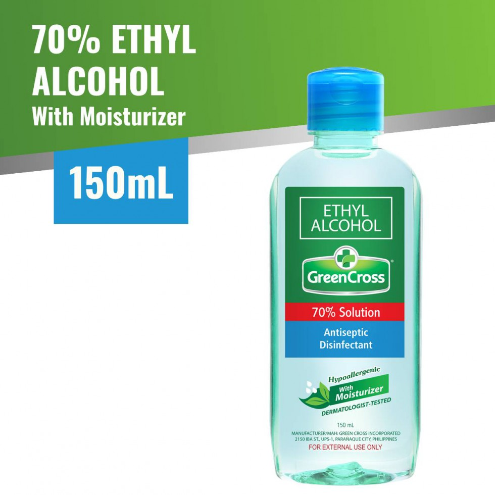 Green Cross Alcohol 70% With Moisturizer Ethyl 150 ML