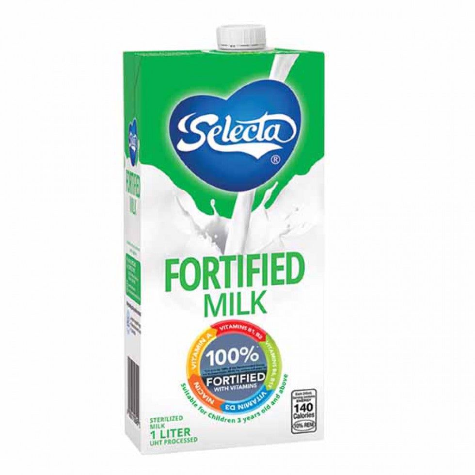 Selecta 100% Fortified Milk With Vitamins Uht Processed 1L