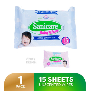 Sanicare Baby Wipes Paraben Free Unscented 15 Sheets