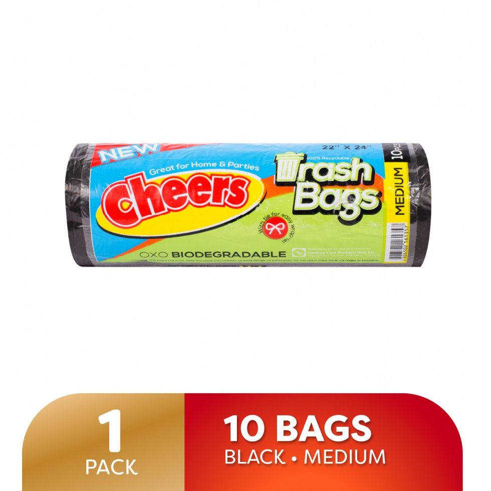 Cheers (Trash Bag) Trash Bag Black 10 Pieces Biodegradable Medium