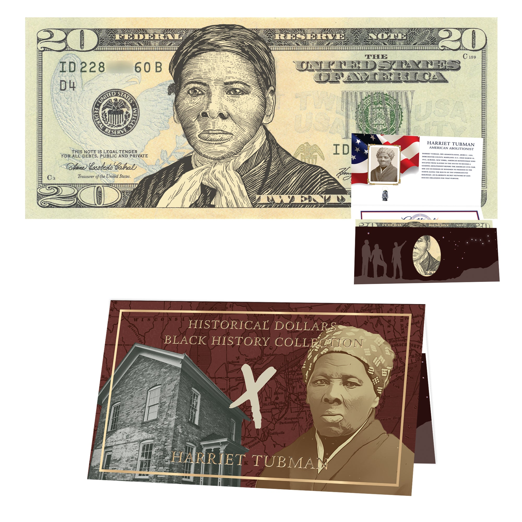 Official Harriet Tubman 20 0 Dollar Bill W Official Currency Card R Presidents Mint