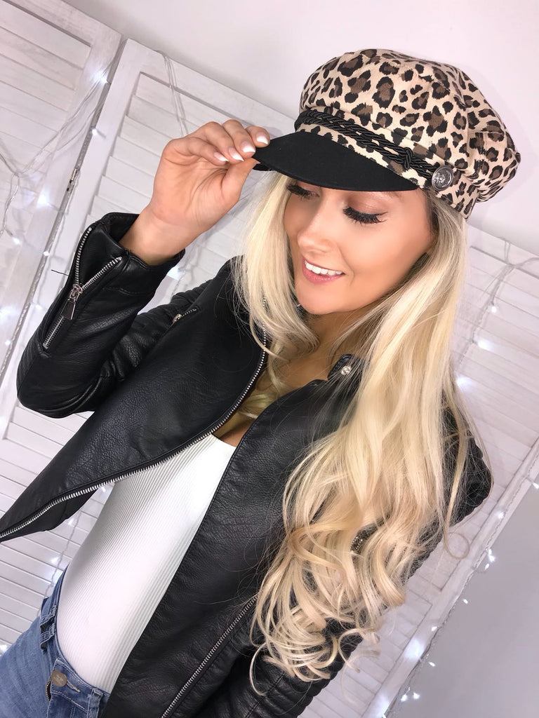 Black & Animal Print Baker Boy Hat