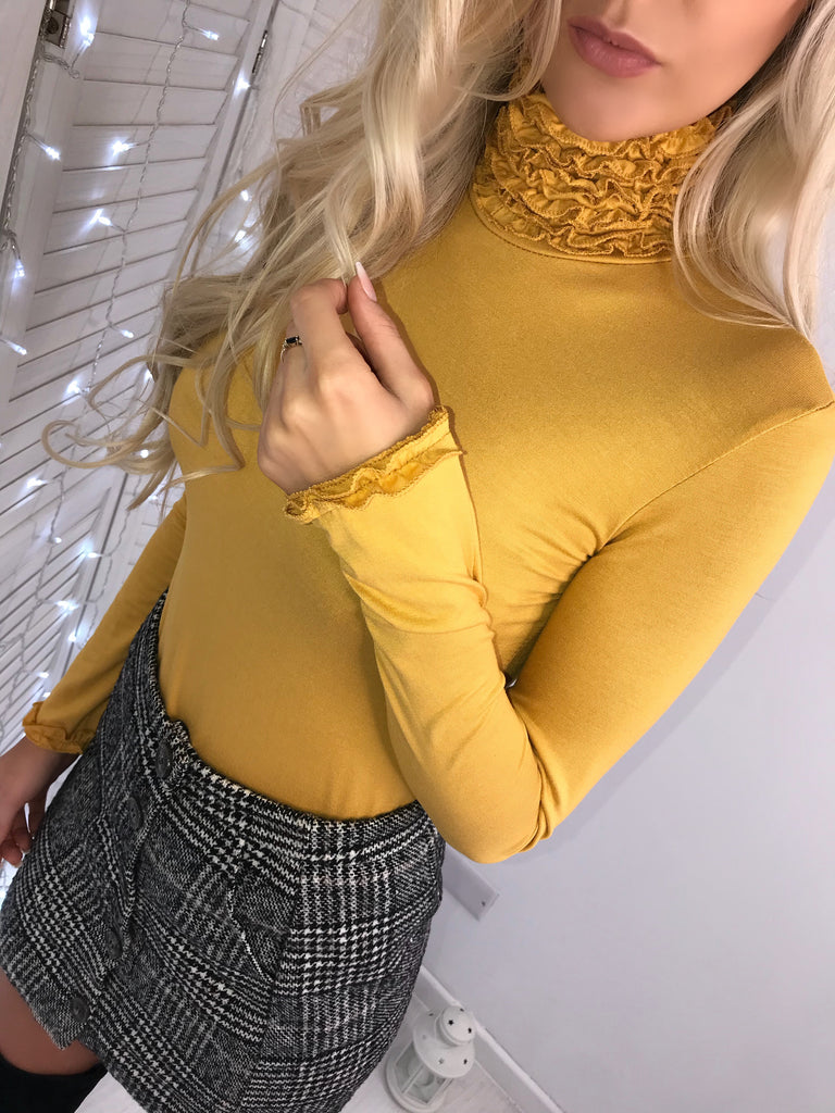 'Evelyn' Mustard High-Neck Ruffle Detail Jumper