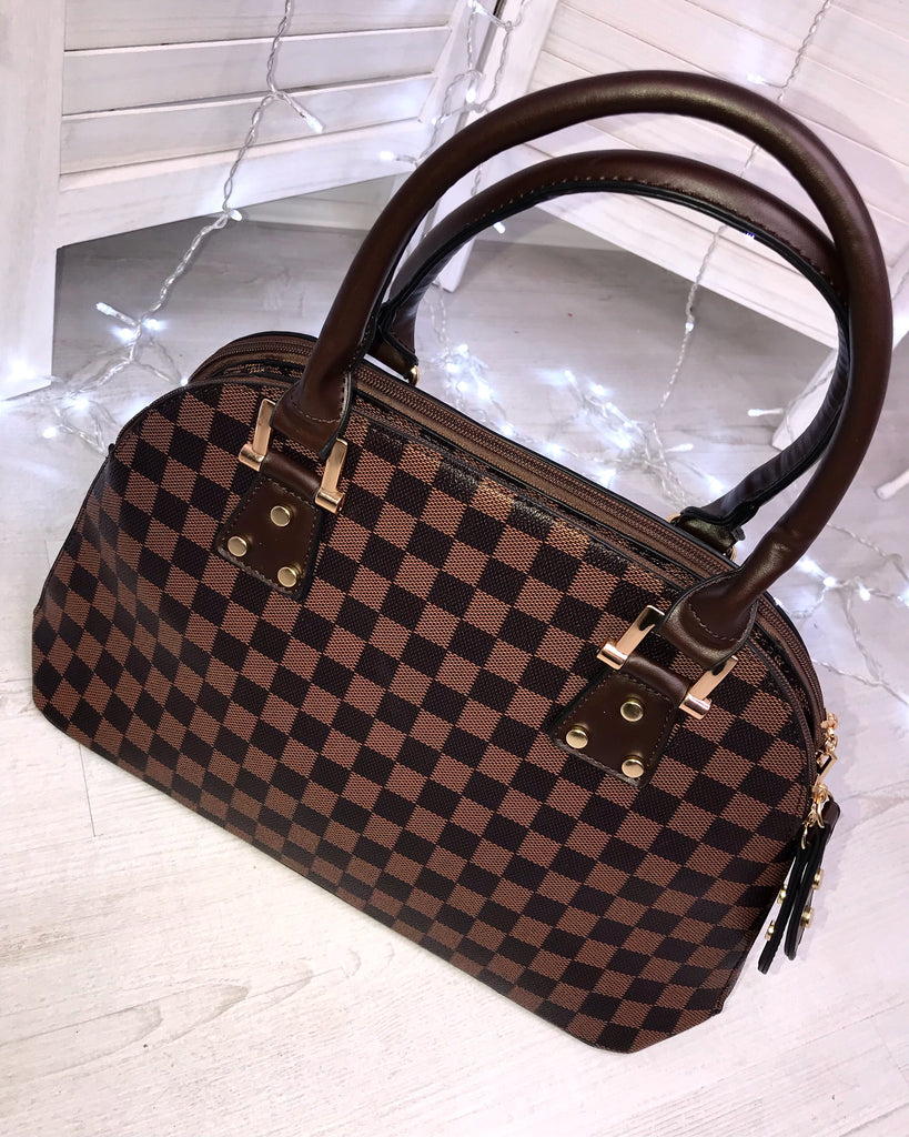'Gabrielle' Brown Print Handbag