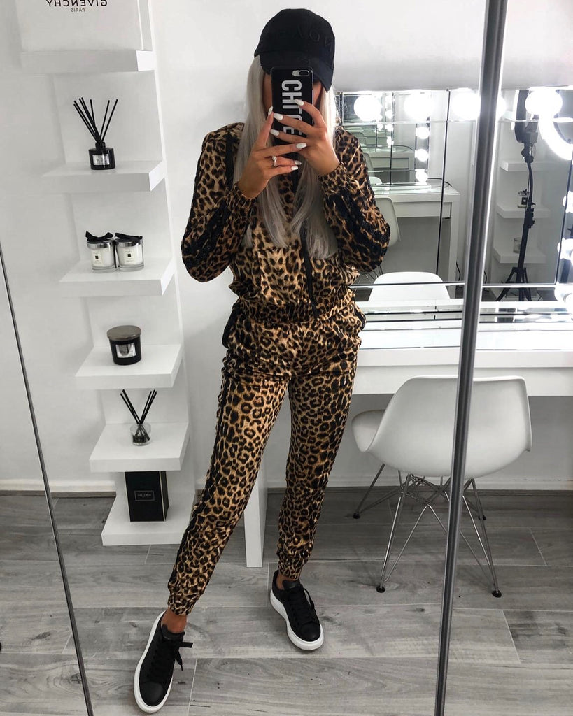 'Ava' Animal Print Zip-Front Hooded Loungesuit