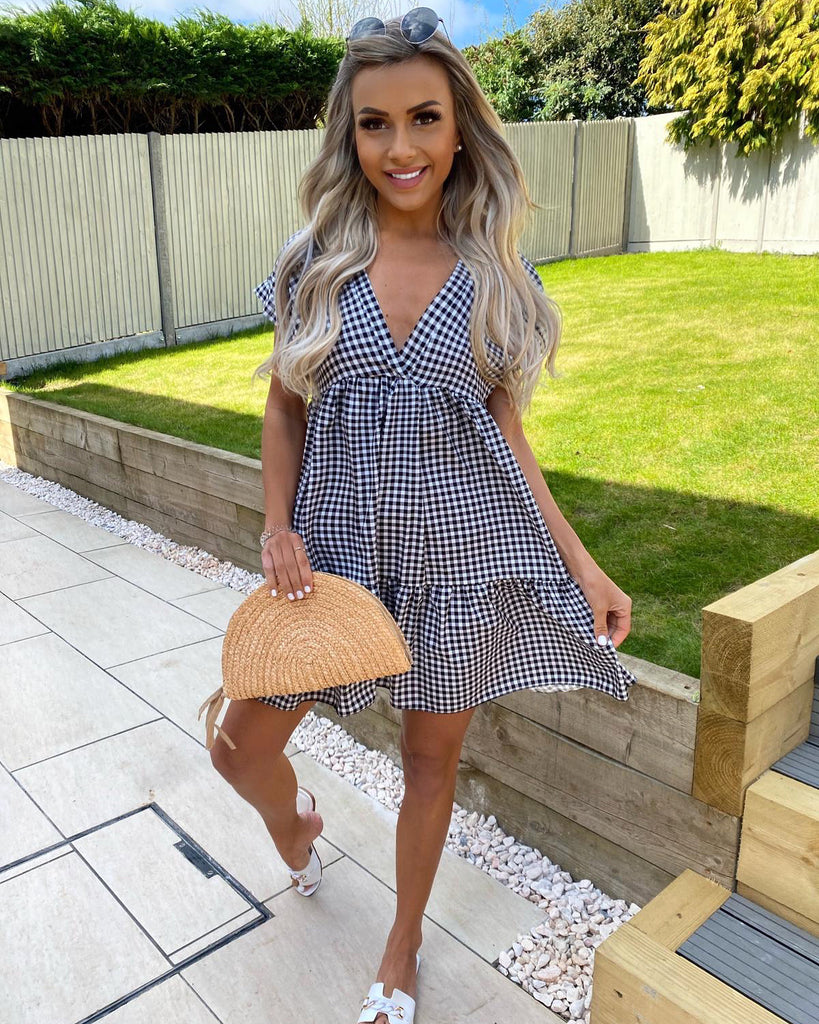 'Alina' Black & White Gingham Dress