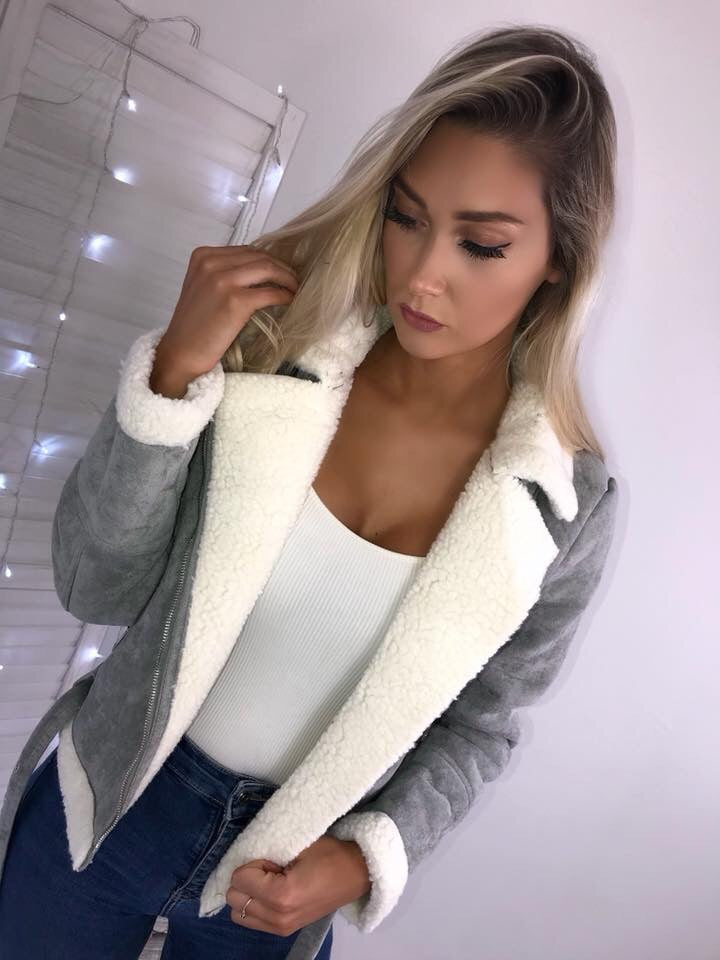 'Alyssa' Grey Suede Shearling Coat