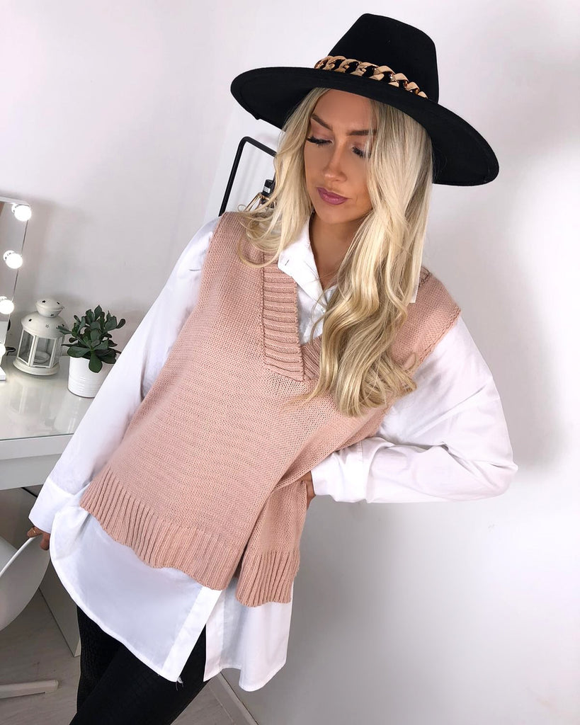 'Jonie' White Shirt with Pink Knitted Vest (Two piece)