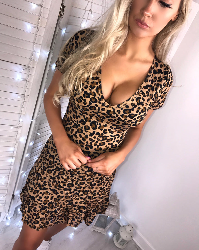'Alice' Animal Print Frill-Hem Sun Dress