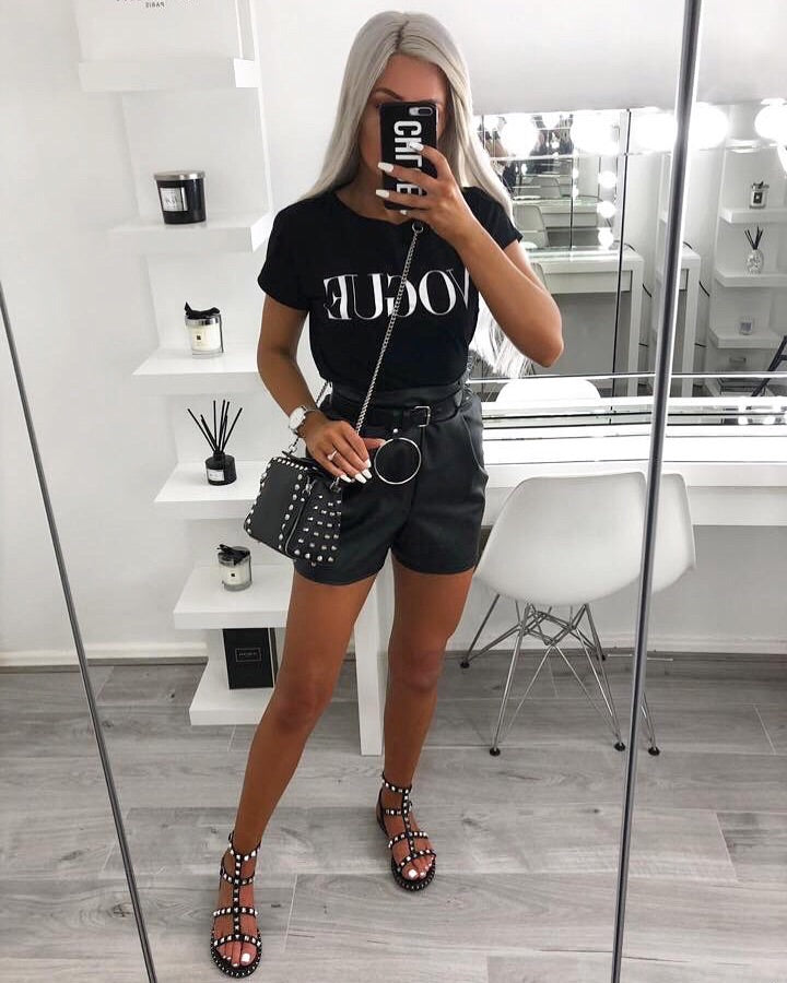 'Carly' Black Faux Leather Paperbag Shorts with Tie-Belt