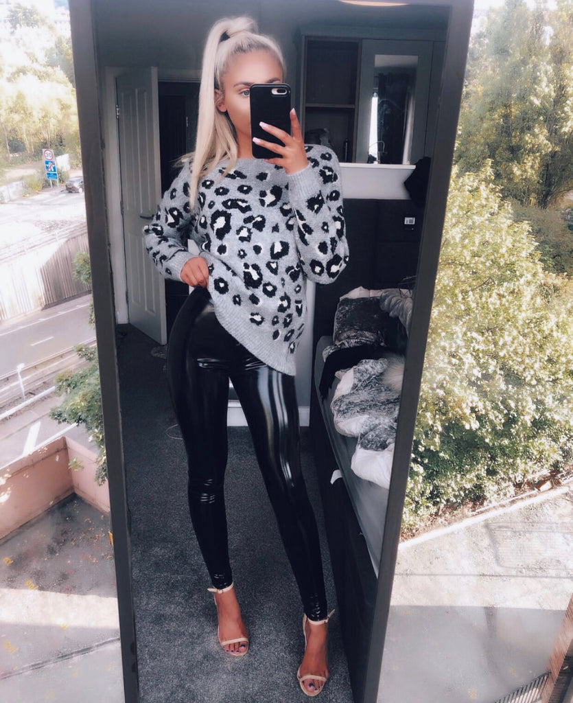 Black Vinyl Shiny High-Waisted Leggings