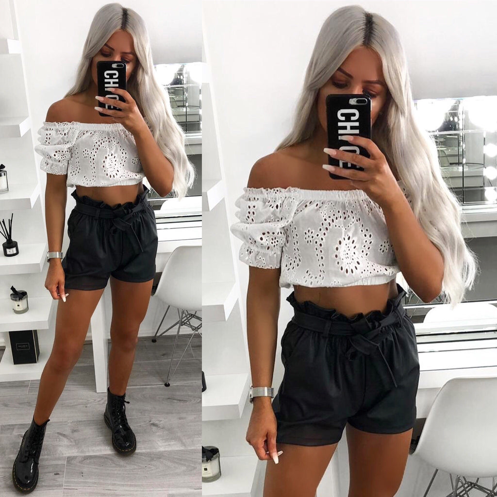 'Callie' White Lace Crochet Crop-Top